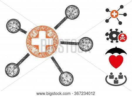 Mesh Health Care Links Web Icon Vector Illustration. Carcass Model Is Based On Health Care Links Fla