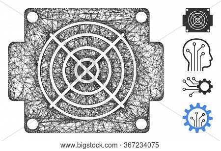 Mesh Mining Asic Device Web Icon Vector Illustration. Model Is Based On Mining Asic Device Flat Icon