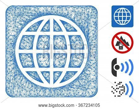 Mesh Internet Web Icon Vector Illustration. Carcass Model Is Based On Internet Flat Icon. Mesh Forms