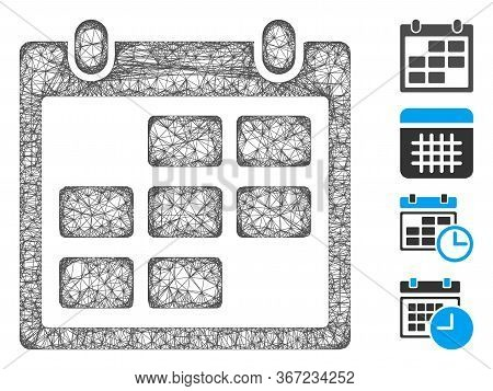 Mesh Calendar Month Web Icon Vector Illustration. Carcass Model Is Based On Calendar Month Flat Icon