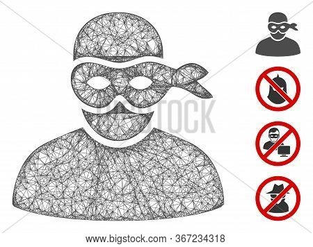 Mesh Anonimious Thief Web Icon Vector Illustration. Carcass Model Is Based On Anonimious Thief Flat