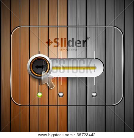 Techno vector slider design and wood texture