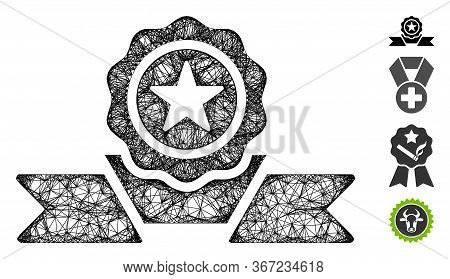 Mesh Recommendation Badge Web Icon Vector Illustration. Carcass Model Is Based On Recommendation Bad
