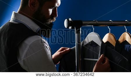 Luxury Mens Classic Suits On Rack In Elegant Mens Boutique. Tailor, Tailoring. Mens Suit, Tailor In