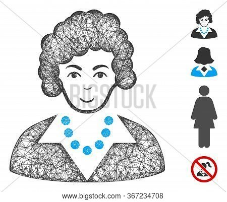 Mesh Brunette Lady Web Icon Vector Illustration. Carcass Model Is Based On Brunette Lady Flat Icon.