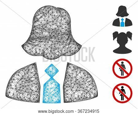 Mesh Lady Manager Web 2d Vector Illustration. Carcass Model Is Based On Lady Manager Flat Icon. Netw