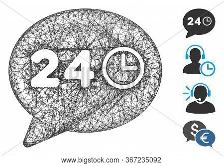 Mesh Message Hours Web Icon Vector Illustration. Carcass Model Is Based On Message Hours Flat Icon.