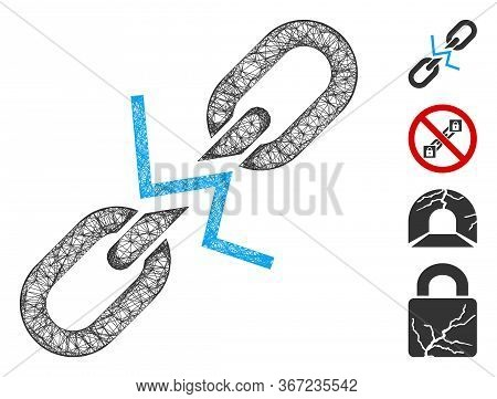 Mesh Broken Chain Link Web Icon Vector Illustration. Carcass Model Is Based On Broken Chain Link Fla