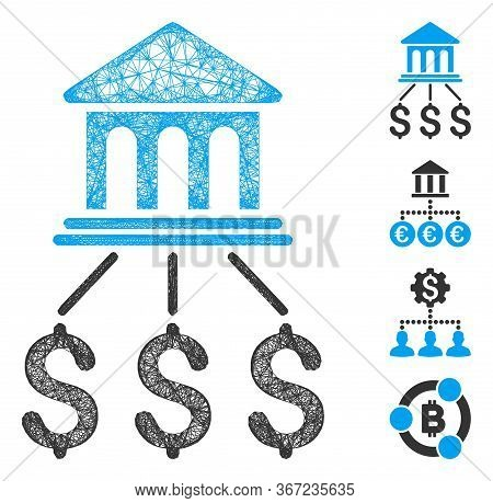 Mesh Bank Scheme Web 2d Vector Illustration. Model Is Based On Bank Scheme Flat Icon. Network Forms
