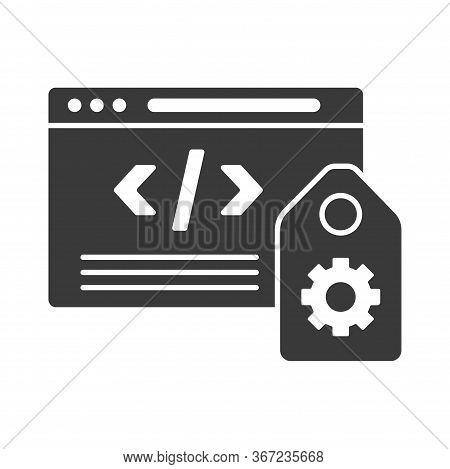 Seo Tags Glyph Black Icon. Seo Marketing Sign. Metadata Vector Pictogram. Search Engine Symbol. Pict