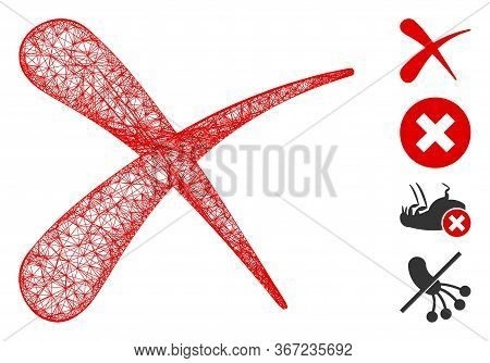 Mesh Erase Web Icon Vector Illustration. Carcass Model Is Based On Erase Flat Icon. Mesh Forms Abstr