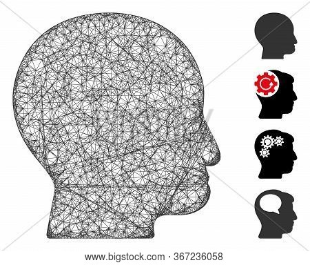 Mesh Bald Head Web Icon Vector Illustration. Model Is Based On Bald Head Flat Icon. Network Forms Ab