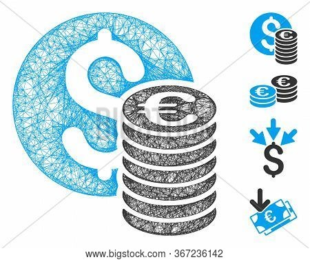 Mesh Dollar And Euro Coins Web Icon Vector Illustration. Abstraction Is Based On Dollar And Euro Coi