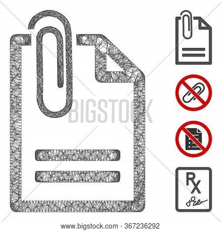 Mesh Attached Document Web Icon Vector Illustration. Abstraction Is Based On Attached Document Flat