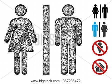 Mesh Toilet Web Icon Vector Illustration. Abstraction Is Based On Toilet Flat Icon. Mesh Forms Abstr