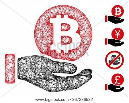 Mesh Bitcoin Coin Payment Hand Web 2d Vector Illustration. Abstraction Is Based On Bitcoin Coin Paym