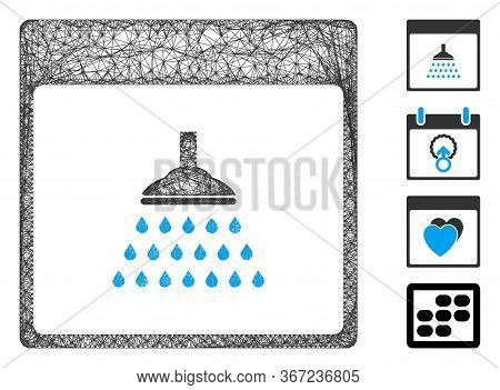 Mesh Shower Calendar Page Web Icon Vector Illustration. Carcass Model Is Based On Shower Calendar Pa