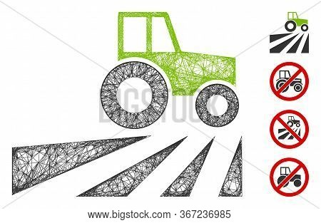 Mesh Farm Field With Tractor Web Icon Vector Illustration. Model Is Created From Farm Field With Tra