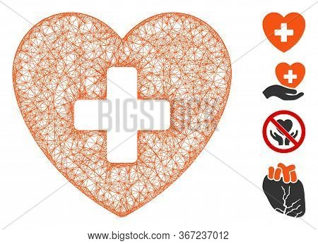 Mesh Cardiology Web Icon Vector Illustration. Carcass Model Is Based On Cardiology Flat Icon. Networ
