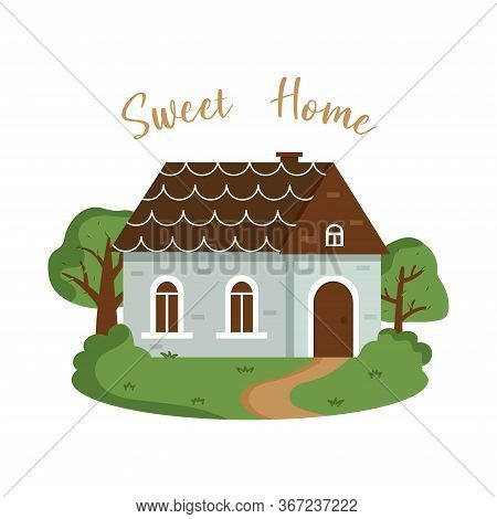 Cute Dwelling House With Bright Colors. Isolated Vector Illustration In A Flat Style. Inscription Sw