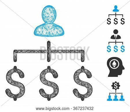 Mesh Money Collector Web Icon Vector Illustration. Carcass Model Is Based On Money Collector Flat Ic