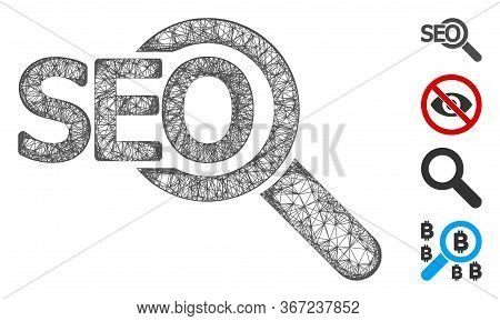Mesh Seo Tool Web Icon Vector Illustration. Carcass Model Is Based On Seo Tool Flat Icon. Network Fo