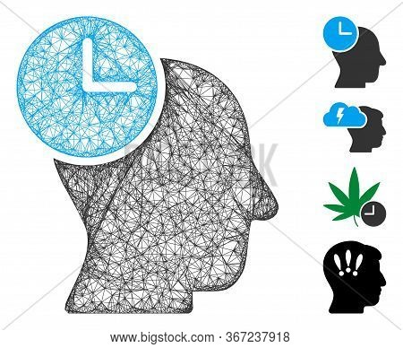 Mesh Time Thinking Web 2d Vector Illustration. Model Is Based On Time Thinking Flat Icon. Network Fo