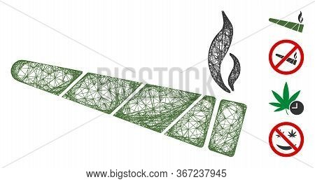 Mesh Cannabis Cigarette Web Icon Vector Illustration. Carcass Model Is Based On Cannabis Cigarette F