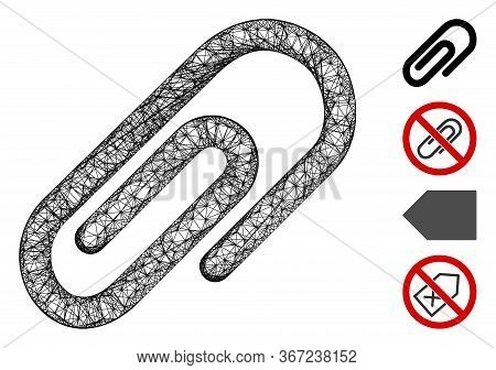 Mesh Paperclip Web 2d Vector Illustration. Abstraction Is Based On Paperclip Flat Icon. Mesh Forms A