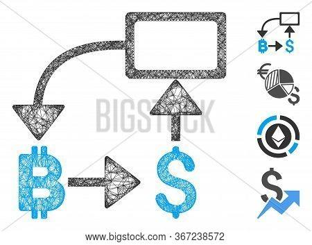 Mesh Bitcoin Dollar Flow Chart Web 2d Vector Illustration. Carcass Model Is Based On Bitcoin Dollar