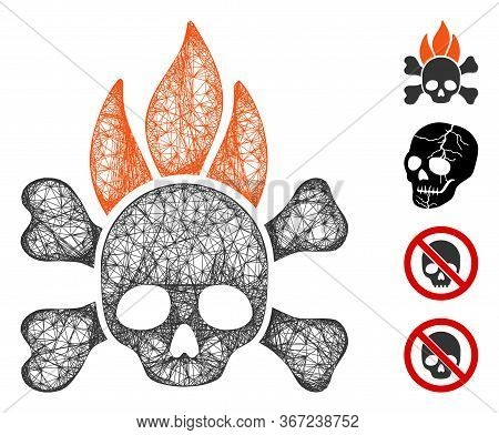 Mesh Death Fire Web Icon Vector Illustration. Carcass Model Is Based On Death Fire Flat Icon. Mesh F