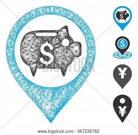 Mesh Bank Map Marker Web Icon Vector Illustration. Model Is Based On Bank Map Marker Flat Icon. Mesh