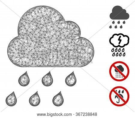 Mesh Rain Cloud Web Icon Vector Illustration. Model Is Based On Rain Cloud Flat Icon. Network Forms