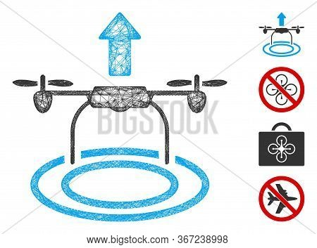 Mesh Start Drone Web Icon Vector Illustration. Abstraction Is Based On Start Drone Flat Icon. Networ