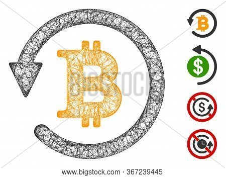 Mesh Bitcoin Chargeback Web Icon Vector Illustration. Carcass Model Is Based On Bitcoin Chargeback F