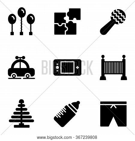 Toy Icon Set Include Balloon,puzzle,rattle,car,sleeping Bed,bottle,clothes