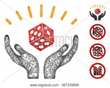 Mesh Dice Win Hands Web 2d Vector Illustration. Carcass Model Is Based On Dice Win Hands Flat Icon.