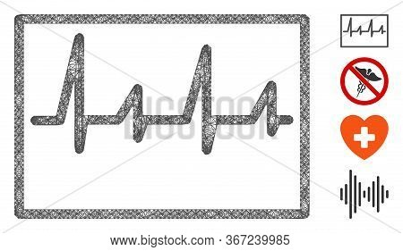 Mesh Cardiogram Web Icon Vector Illustration. Carcass Model Is Based On Cardiogram Flat Icon. Mesh F