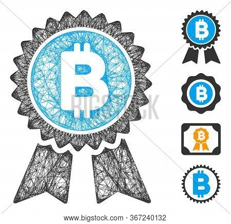 Mesh Bitcoin Award Seal Web 2d Vector Illustration. Carcass Model Is Based On Bitcoin Award Seal Fla