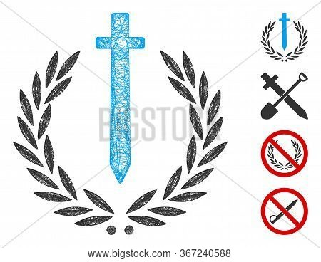 Mesh Sword Honor Embleme Web Icon Vector Illustration. Model Is Based On Sword Honor Embleme Flat Ic