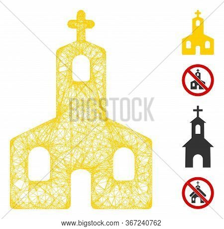 Mesh Christian Church Web Icon Vector Illustration. Carcass Model Is Based On Christian Church Flat