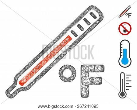 Mesh Fahrenheit Medical Thermometer Web Icon Vector Illustration. Carcass Model Is Created From Fahr