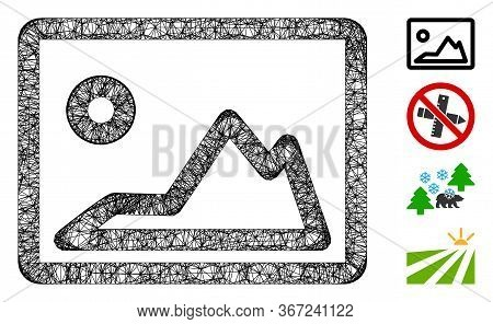 Mesh Landscape Image Web Icon Vector Illustration. Carcass Model Is Based On Landscape Image Flat Ic
