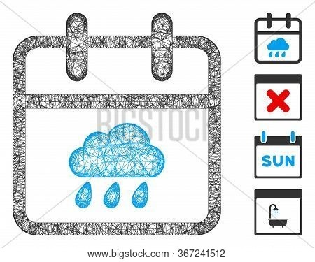Mesh Rainy Day Web 2d Vector Illustration. Model Is Based On Rainy Day Flat Icon. Mesh Forms Abstrac