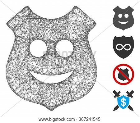 Mesh Smile Police Shield Web 2d Vector Illustration. Carcass Model Is Created From Smile Police Shie