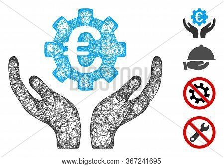 Mesh Euro Maintenance Hands Web 2d Vector Illustration. Carcass Model Is Based On Euro Maintenance H