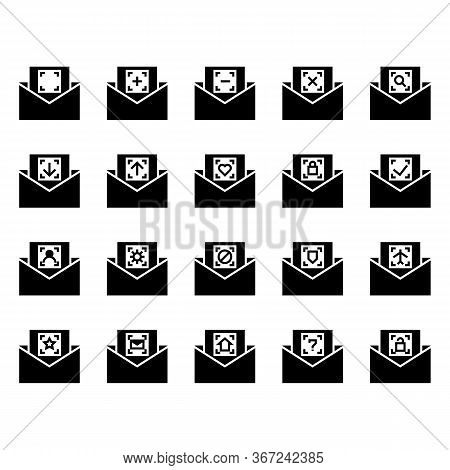 Mail And Message Icon Set Include Mail, Date, Message, Notification, Plus, Minus, Cross, Search, Loo