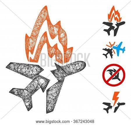 Mesh Airplane Burn Web Symbol Vector Illustration. Carcass Model Is Based On Airplane Burn Flat Icon