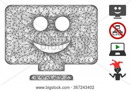 Mesh Display Smile Web Icon Vector Illustration. Carcass Model Is Based On Display Smile Flat Icon.