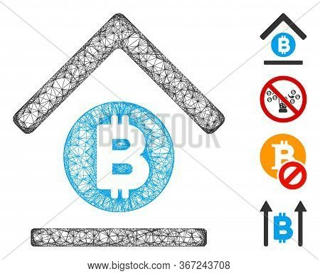 Mesh Bitcoin Bank Roof Web Icon Vector Illustration. Carcass Model Is Created From Bitcoin Bank Roof